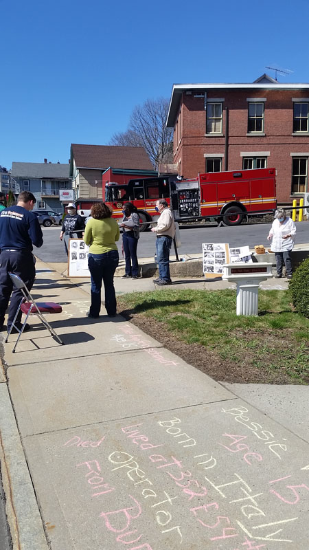 Bev York, the Willimantic CT Mill Museum + local firefighters chalk for the Triangle workers