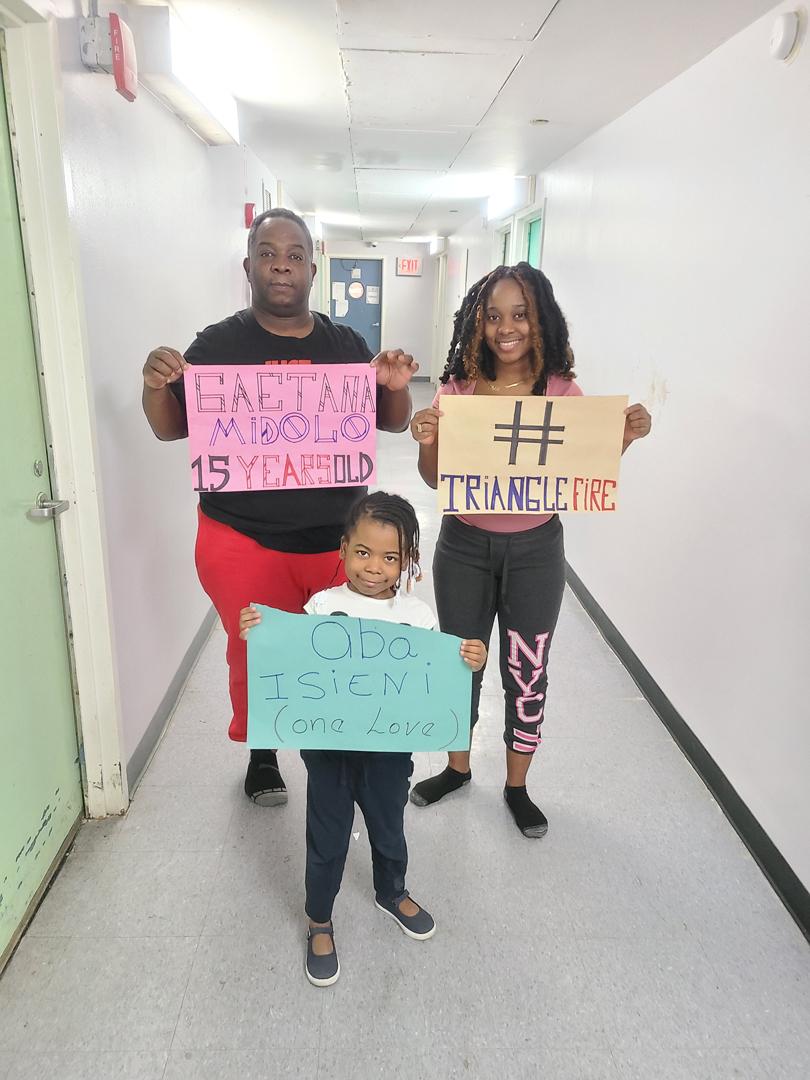 Arlender Nuñez, Garifuna Community Leader & daughters Arieth & Leylani