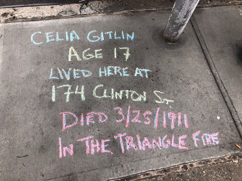 Jennifer Hull chalks for Celia Gitlin