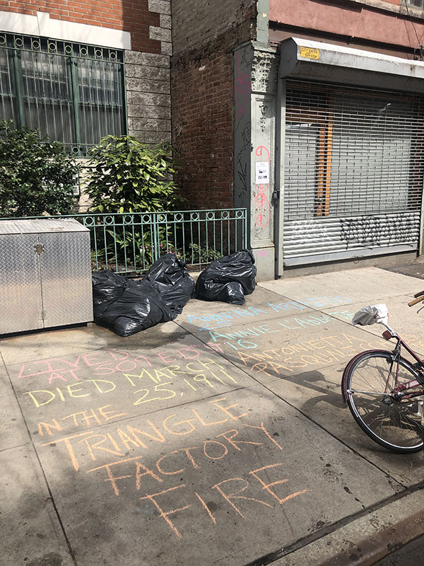 Joseph Sciorra chalking for 3 workers who lived in the same building