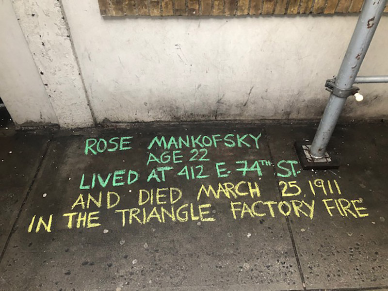 Kerin Ferallo chalks for Rose Mankofsky