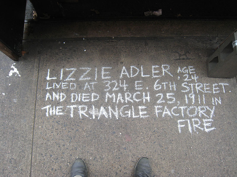 Kevin Walter chalks for Lizzie Adler