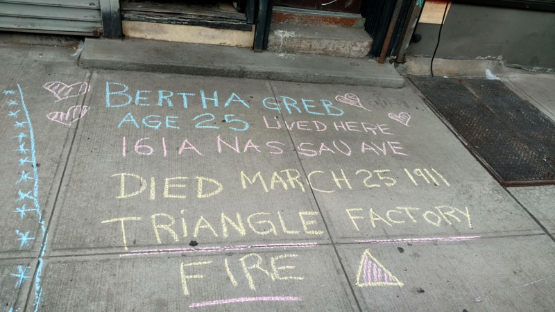 Monika Bolino chalks for neighbor Bertha Greb