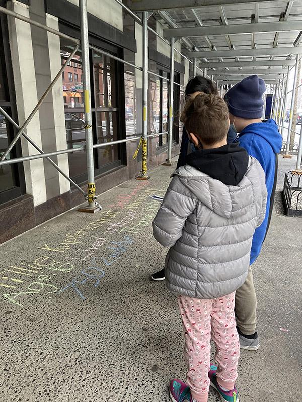 Rachel B Tiven + Ezra 12 + Charlie 10 chalk for Tilliekupferschmidt