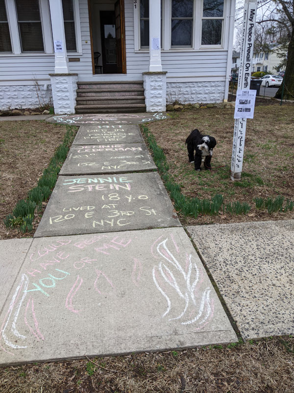 Shelley Mintz chalks for Jennie Stein