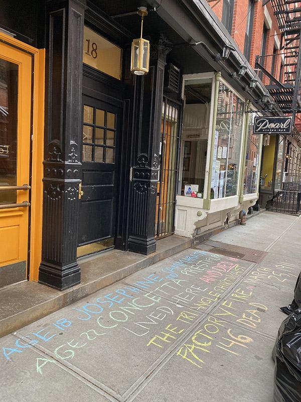 Susan Davies chalks for Josephine Cammarata + Concetta Prestifilippo